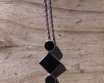 FREE SHIPPING!! Black onyx set in handcrafted sterling silver necklace.