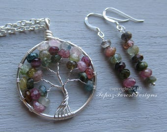 Gift Set ~ Tourmaline Tree of Life Pendant and Earrings