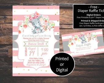 Elephant Baby Shower Invitation Floral Printed Or Digital