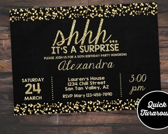 Surprise Birthday Invitation 50th