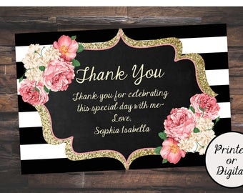 30th Birthday Thank You Card 20th 21st 40th 50th 60th Gold Glitter Floral PRINTED