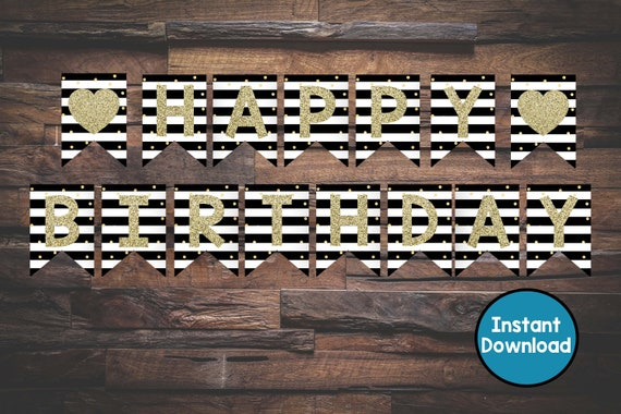 Black And White Banner Gold Banner Banner Birthday Banner Etsy
