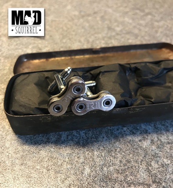 Vintage Britannia Puncture Repair Tin with Campagnolo Record R11 Cufflinks