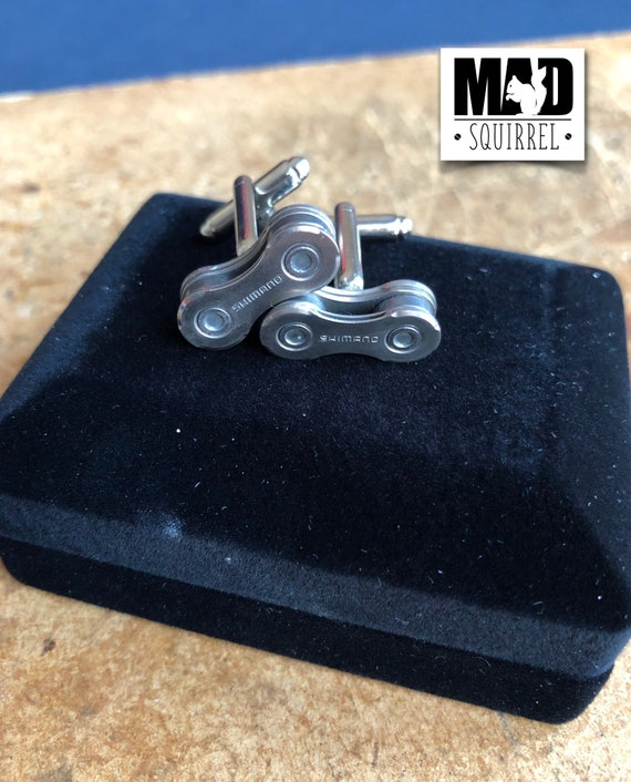 Bicycle, Bike Chain Cufflinks made from Shimano Chain, with Shimano on the Plate in a Cufflink Box
