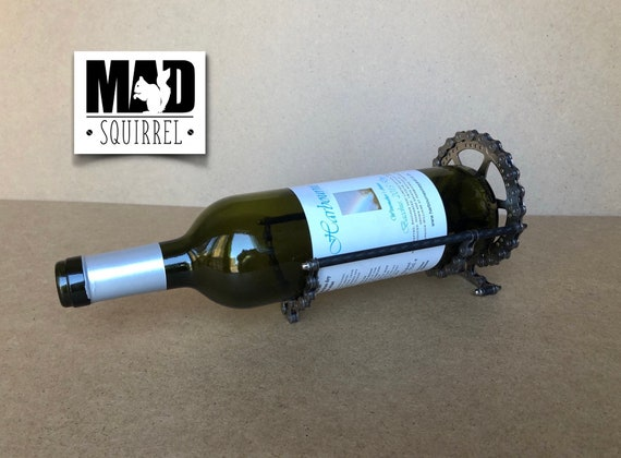 Bicycle Chain and Sprocket Wine Bottle Holder, with carbon fibre side rods.