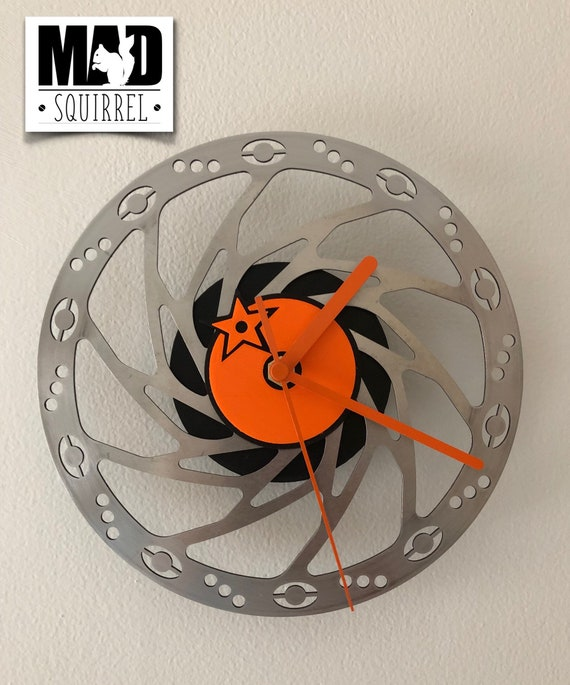 Orange Mountain Bike, MTB, 185mm Special Edition Disc Brake Clock with an Orange Logo, edged in black and orange hands