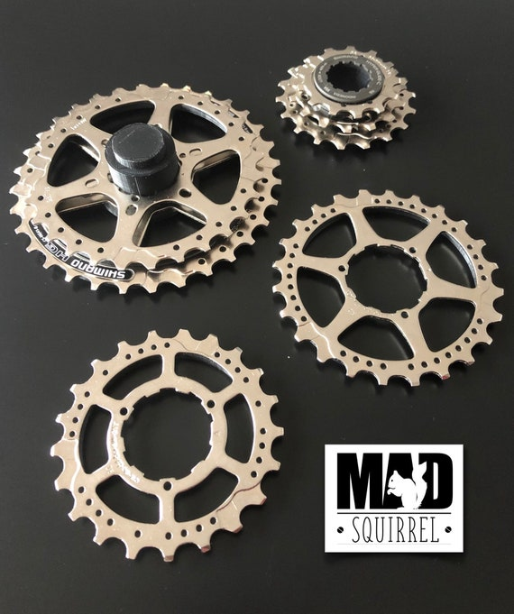 4 Stackable Bicycle Cassette Sprocket Coasters with Base and Top.