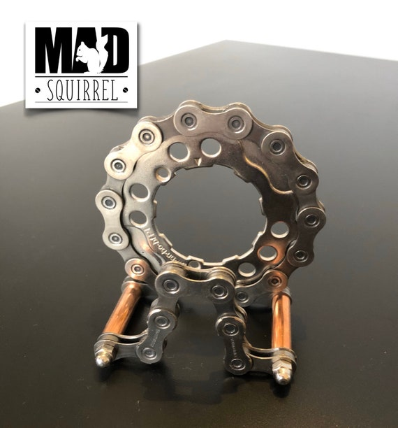 Beautiful and unique Shimano Bicycle Chain, Sprockets and Copper Tube Business Card Holder with a Steampunk theme.