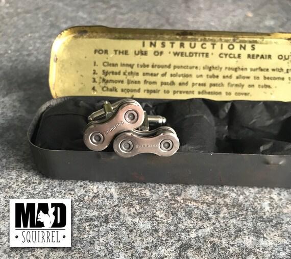 Beautiful Weldtite Puncture Repair Tin with Shimano Cufflinks