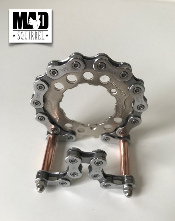 Beautiful and unique Bicycle Chain, Sprockets and Copper Tube Business Card Holder with a Steampunk theme.