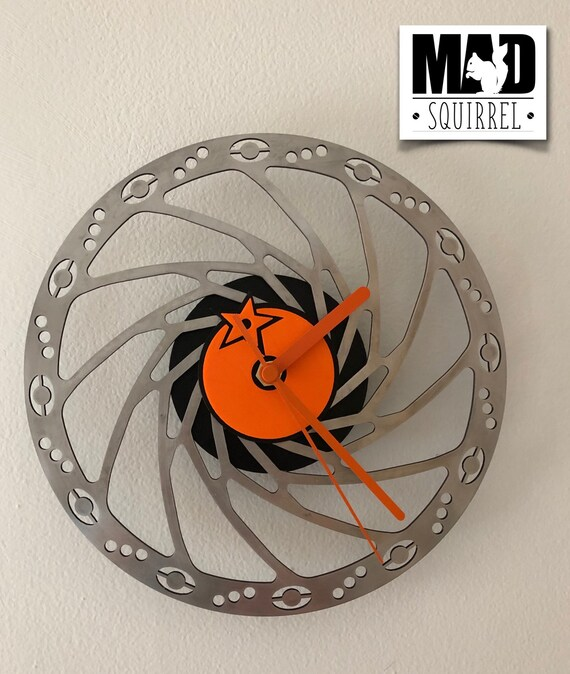 Orange Mountain Bike, MTB, 205mm Special Edition Disc Brake Clock with an Orange Logo, edged in black and orange hands