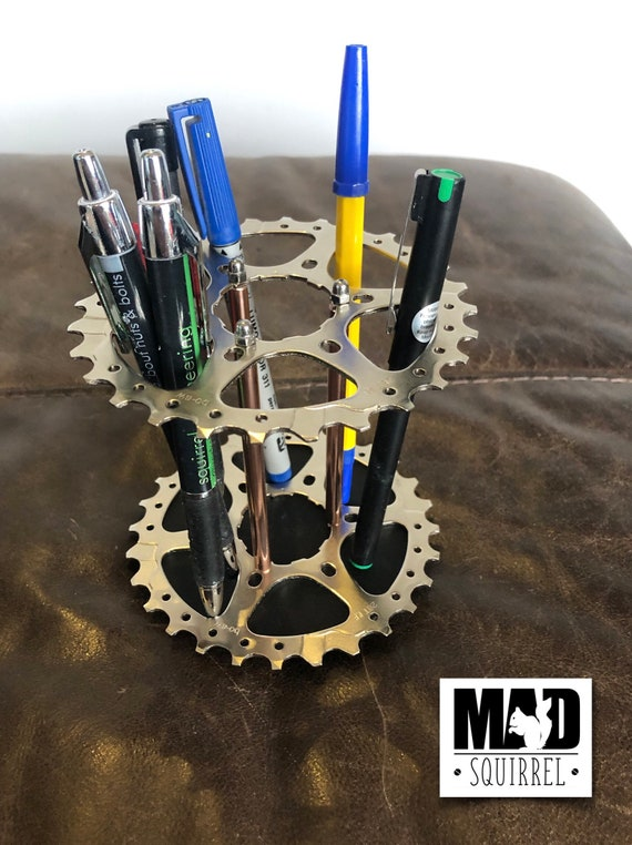 Large Double Bicycle Sprocket (silver) and Copper Tube Pen, Brush or Tool Holder