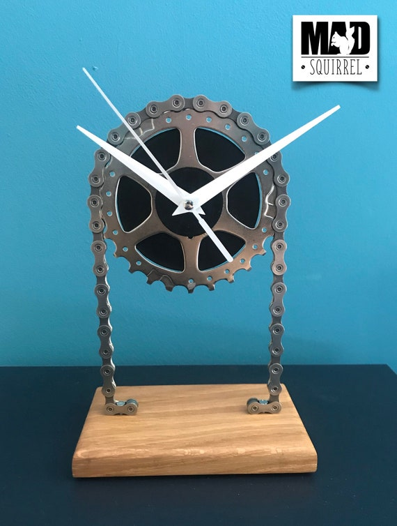 Floating Sprocket Desk/Shelf Clock with Black Face & White Hands, with Polished Chain
