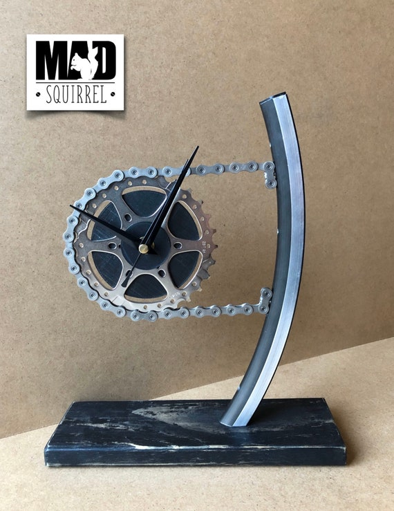 Beautiful and individualy made Rim and Sprocket Clock, made from an upcycled section of Rim, new chain and sprocket