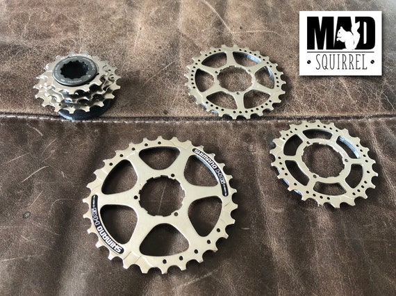 3 Stackable Bicycle Cassette Sprocket Coasters with Base and Top.