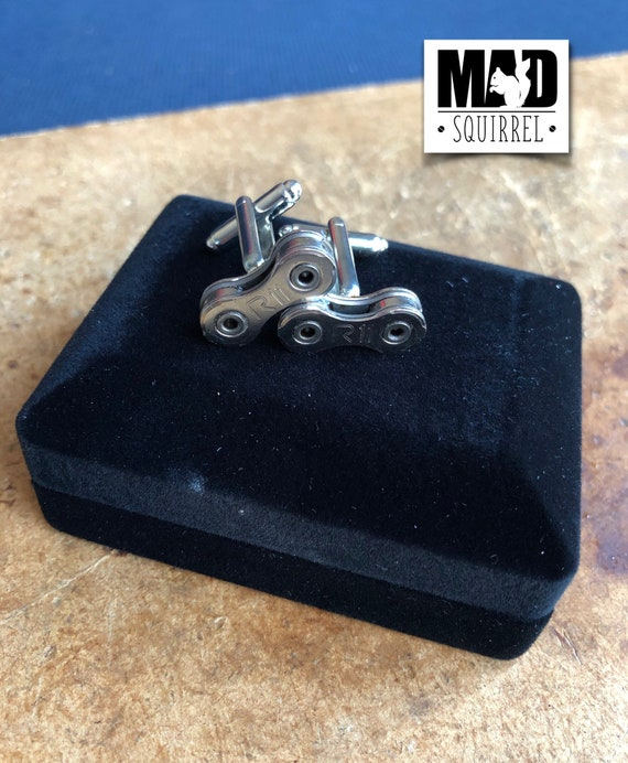 Bicycle, Bike Chain Cufflinks made from Campagnolo R11 Chain, with R11 on the Plate in a Cufflink Box