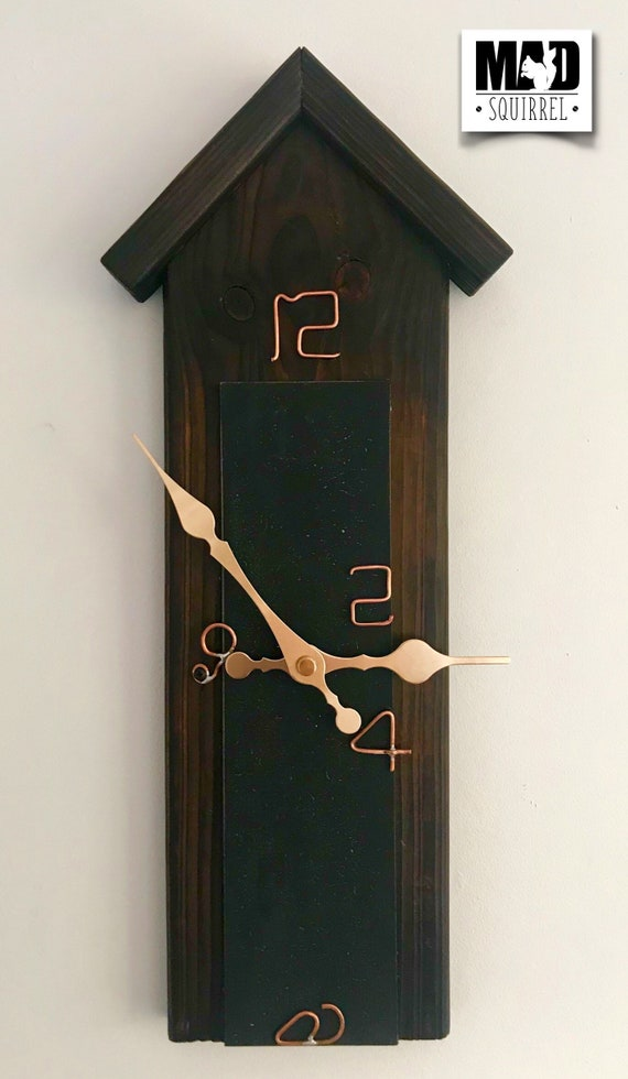 Unique Hand Made Clock, made to represent a garden shed, with a fantastic finish and wire numbers.