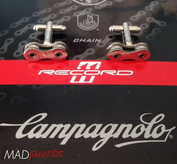 Campagnolo Chain Link Cufflinks - made from Campagnolo Record R11 Chain Links