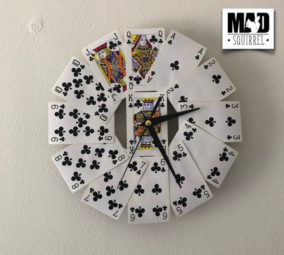 Playing Card Clock, made from the all the Club cards.
