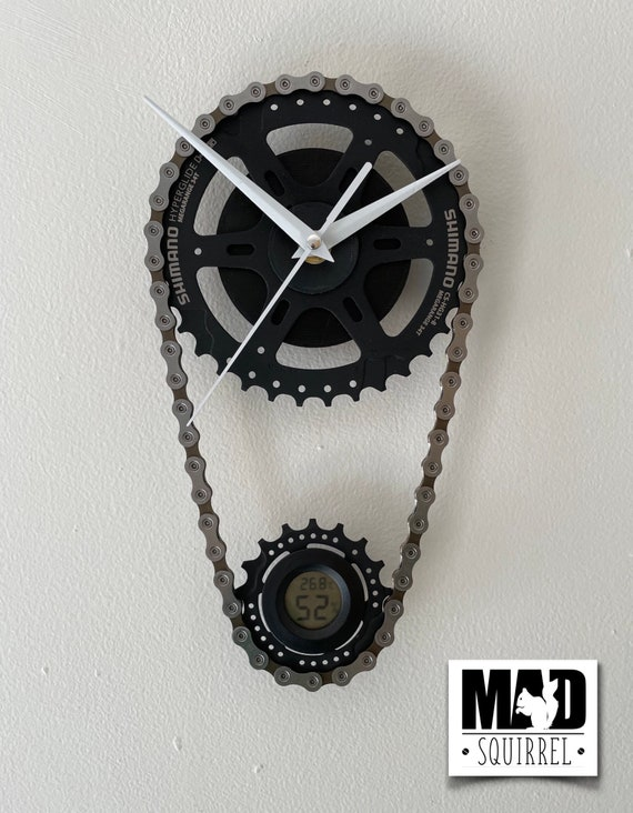 The Darkside' Double Bicycle Sprocket and Chain Clock with Temperature and Humidity Display