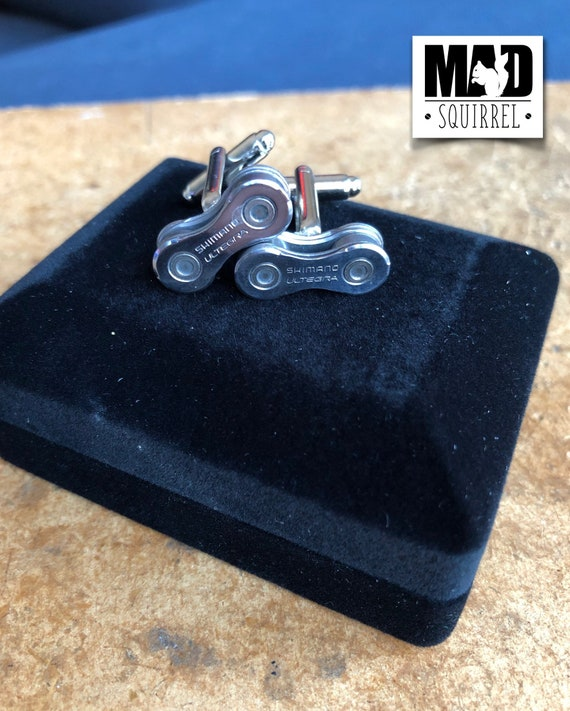 Bicycle, Bike Chain Cufflinks made from Shimano Ultegra Chain, with Shimano Ultegra on the Plate in a Cufflink Box