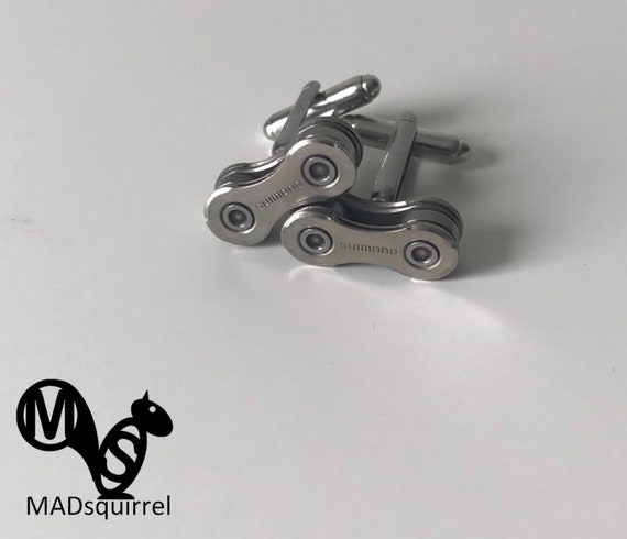 Bicycle, Bike Chain Cufflinks made from Polished Shimano Chain, with Shimano on the Side Plates
