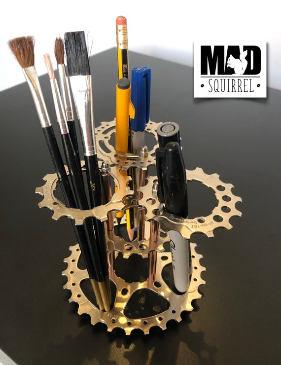 New Style Triple Bicycle Sprocket (silver) and Copper Tube Pen or Tool Holder