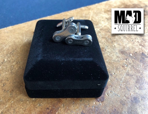 Bicycle, Bike Chain Cufflinks made from SRAM Chain, with SRAM on the Plate in a Cufflink Box