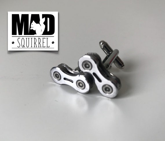 Bicycle, Bike Chain Cufflinks, made from new Chain, with a Perforated Side Plate