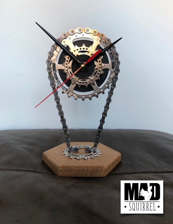 Floating Double Sprocket and Chain Desk/Shelf Clock, with Solid Oak Base
