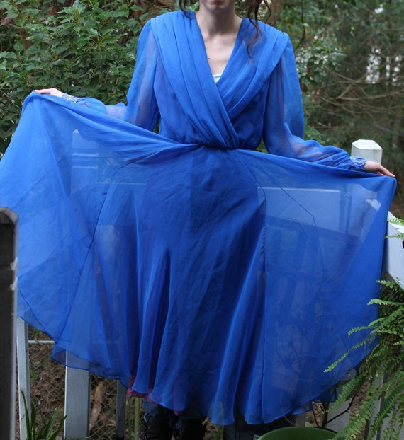 Vintage Blue Chiffon 'Mother of the Bride' dress b