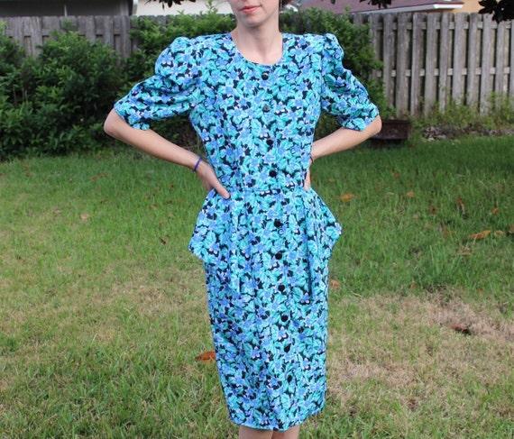 Vintage Black and Blue FloralPrint Retro 80s Dress - image 3