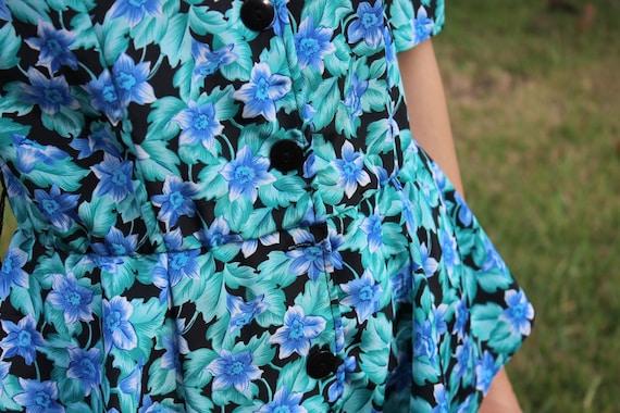 Vintage Black and Blue FloralPrint Retro 80s Dress - image 6