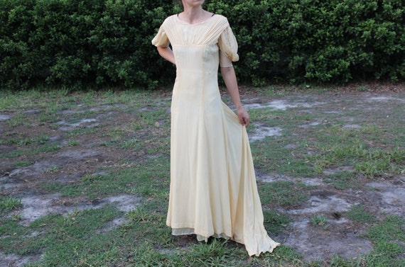 Vintage 1930s Yellow Silk Dress