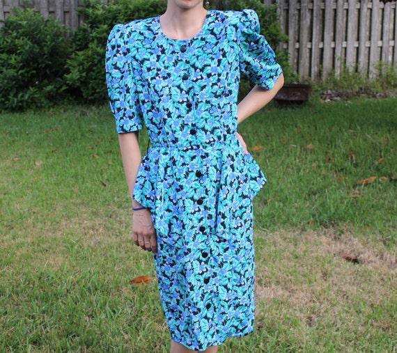 Vintage Black and Blue FloralPrint Retro 80s Dress - image 2