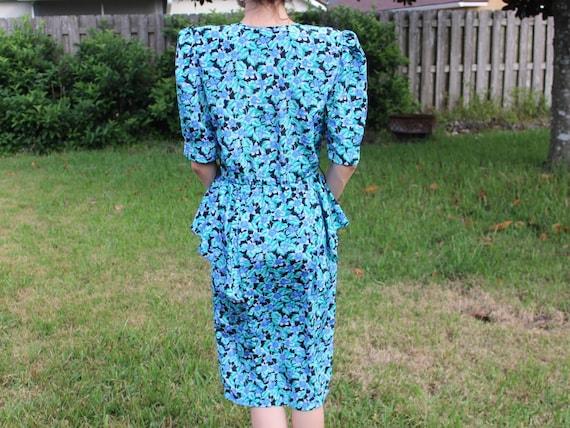 Vintage Black and Blue FloralPrint Retro 80s Dress - image 5