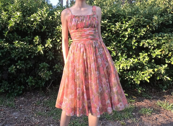Vintage Floral chiffon 70's dress by Gigi Young/Ne