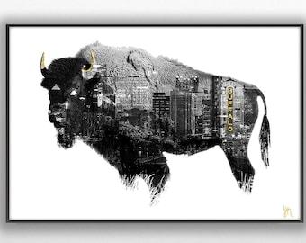 Buffalo NY Custom Black and White with Gold Graphic Print Wall Art