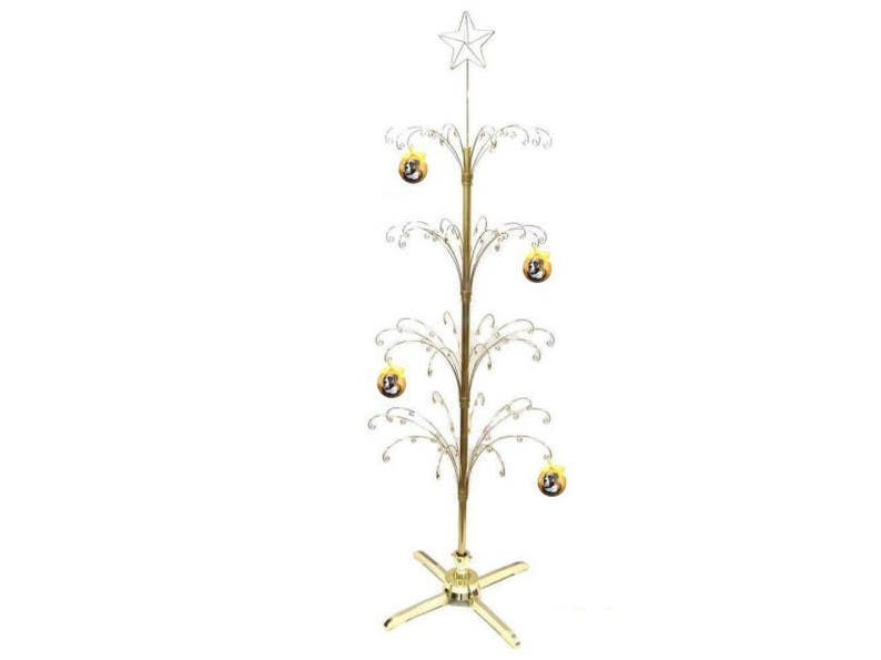 Metal Christmas Tree.Metal Artificial Christmas Tree Ornament Display Rotating Stand 74inch Gold Color