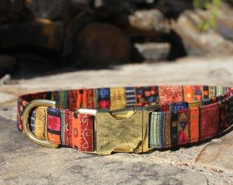 Bohemian Collar, Dog Collar, Female Dog Collar, Pet Collar, Gifts for Dog Lovers, Fabric Dog Collar, Small Dog Collar, Large Dog Collar