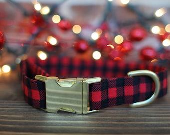 Buffalo Plaid Dog Collar, Christmas Dog Collar, Lumberjack Dog Collar, Dog Collar, Large Dog Collar, Small Dog Collar, Pet Lover, Winter