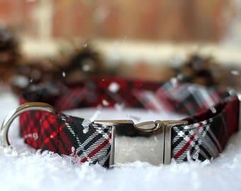 Red and Black Plaid Collar, Christmas Dog Collar, Plaid Dog Collar, Male Dog Collar, Metal Buckle, Gift, Large Dog Collar, Small Dog Collar