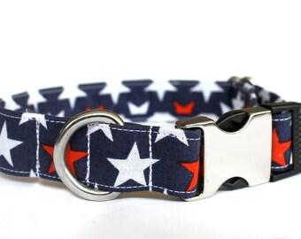Patriotic Collar, Pet Collar, Dog Collar, Female Dog Collar, Metal Buckle, Male Dog Collar, Small Dog Collar, Large Dog Collar