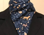 Four Fold Stock Tie, Foxhunting Stock Tie, Traditional Four Fold Stock Tie, Foxes & Woodland Animals with Flowers Navy Blue