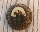 ONE Fabric covered button magnets foxhunt horse and rider and hounds scene - magnet 1 7/8 inch diameter