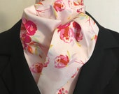 Four Fold Stock Tie, Foxhunting Traditional Stock Tie, Horse Show Stock Tie, Designer pink floral on very light pink