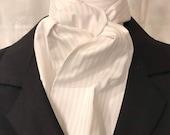 White Four Fold Stock Tie, Mens or Womens Formal White Stock Tie, Traditional Foxhunting Stock Tie, White tone on tone stripes