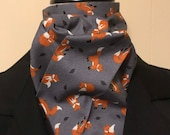Four Fold Stock Tie, Foxhunting Traditional Stock Tie, Horse Show Stock Tie, Slate Blue with Red Foxes Playing, Designer Cotton
