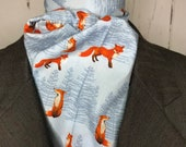 Light Smokey Blue with Detailed Red Foxes and trees, Four Fold Stock Tie with Foxes, Foxhunting Stock Tie, Traditional Four Fold Stock Tie