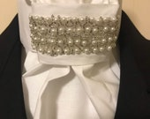 Gorgeous beads on White Cotton Stock Tie - You can choose bling pin, Dressage Stock Tie, Eventing Stock Tie, Horse Show Tie